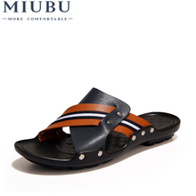 MIUBU Brand New Arrival Slippers High Quality Handmade Cow Genuine Leather Summer Shoes Fashion Men Beach Sandals Flip Flops high quality brand fashion mens sandals slip on genuine leather cow flat casual shoes male big size slippers beach flip flops