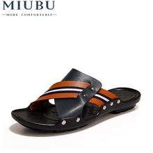 MIUBU Brand New Arrival Slippers High Quality Handmade Cow Genuine Leather Summer Shoes Fashion Men Beach Sandals Flip Flops