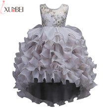 Pretty Sheer O-Neck Ball Gown Flower Girl Dresses High Low Lace Ruffles Kids Evening Gowns 2018 Wedding Party Dresses(China)