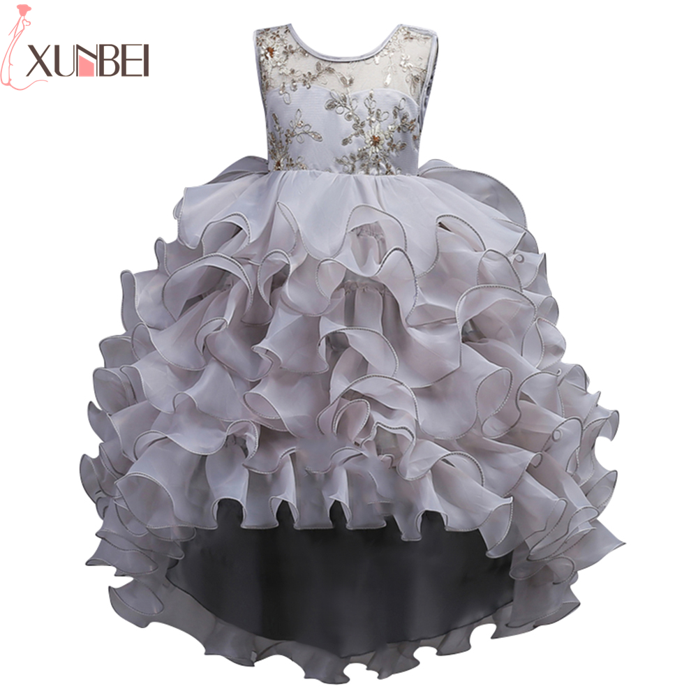 Pretty Sheer O-Neck Ball Gown   Flower     Girl     Dresses   High Low Lace Ruffles Kids Evening Gowns 2019 Wedding Party   Dresses