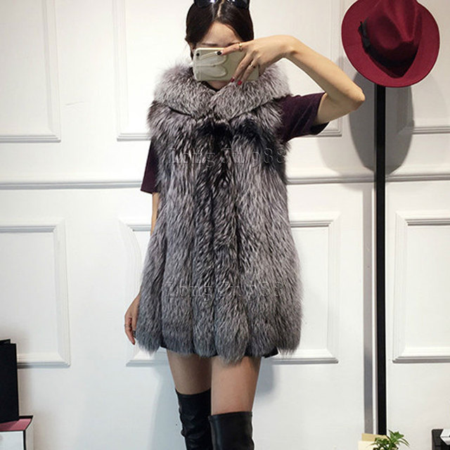 2016 Новый меховой жилет имитация silver fox шуба с капюшоном жилет вертикальная полоса средней длины жилет крупных женщин размер