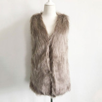 Women Brown Plus Size Faux Fur Vest Slim Long Tank Tops Women XXXL Gilet Fourrure Rabbit