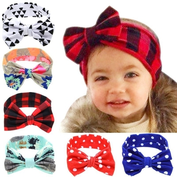 цена на Yundfly Infant Flower Bow Hairband Turban Knot Rabbit Ear Headband Kids Girl Child Headwraps Dot Toddler Hair Band Accessories