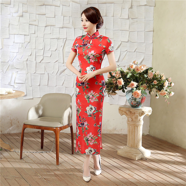 8dfb35de2 New Red Chinese Bride Wedding Qipao Dress Women Traditional Long Satin  Cheongsam Elegant Flowers Size S M L