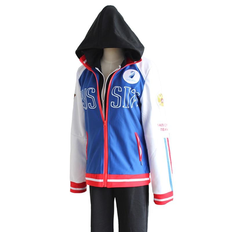 YURI!!! on ICE Cosplay Costumes Yuri Plisetsky Coat Black Zipper Hoodie Blue Jacket Daily Sportswear Coat Pants Anime Costume