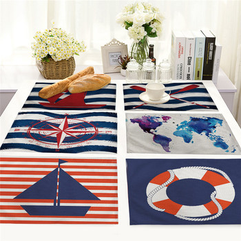 1Pcs Creative Nautical Anchor Pattern Kitchen Placemat Table Mat Coaster Cotton Linen Pad Dish Cup Mat 42*32cm Home Decor MS0015