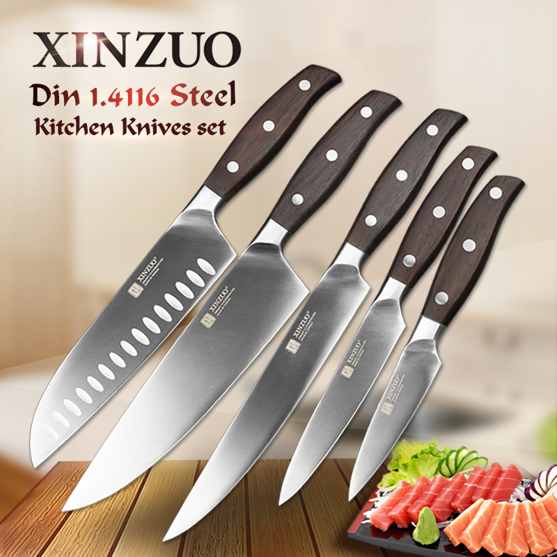 XINZUO High Quality 3.5+5+8+8+7 inch Paring Utility Cleaver Chef Santoku Knife Stainless Steel Cook Tools Kitchen Knives Sets