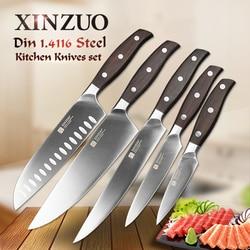 XINZUO de alta calidad 3,5 + 5 + 8 + 8 + 7 pulgadas UTILIDAD DE Paring cuchilla Chef Santoku cuchillo inoxidable utensilios de cocina de acero