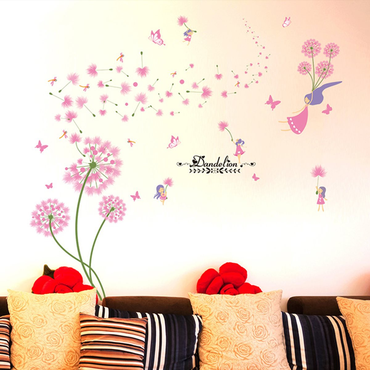 Dandelion wall sticker lovely pink cute baby girl plant stikcers dandelion wall sticker lovely pink cute baby girl plant stikcers sweet kids room decor poster decoration wall art wall decals in wall stickers from home amipublicfo Images