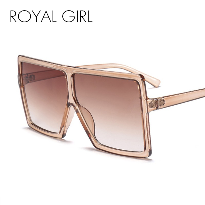 3494fd6f3bff ROYAL GIRL Oversized Sunglasses Women Big Frame Flat Top Sun Glasses Men  2018 New Designer Vintage