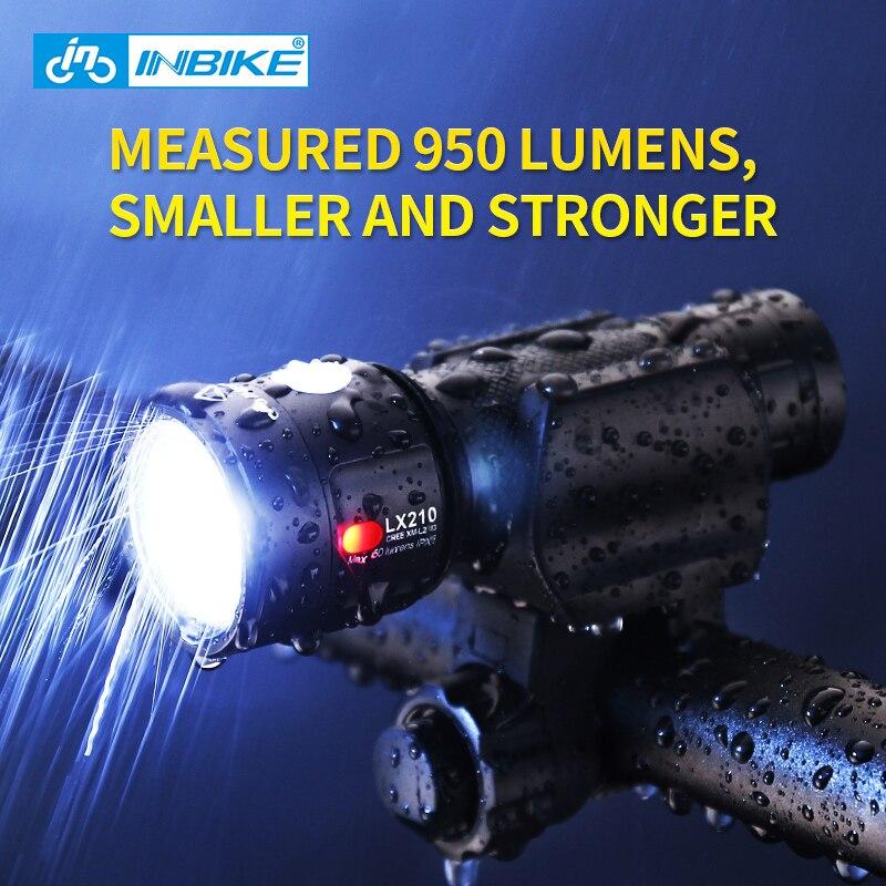 Inbike Bike Light Bicycle Flashlight LED Bike Front Light Cycling USB Rechargeable Headlight Biking <font><b>Lamp</b></font> Fietslicht LX210