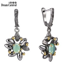 DreamCarnival 1989 Vintage Flower Earrings Women Wedding Party Simulated Blue Opal Stone Black Gothic Jewelry Hot Selling WE3890(China)