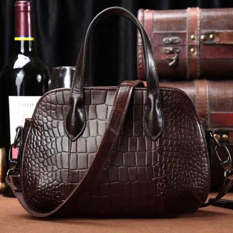 YISHEN Fashion Alligator Grain  Women Handbags Genuine Cowhide Leather Corssbody Bags Casual Luxury Women Shoulder Bag LS0153