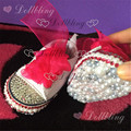 Hot pink canvas brand baby bling handmade shoes with match ribbon bottom all cover pearls and Rhinestones crystal infant shoes