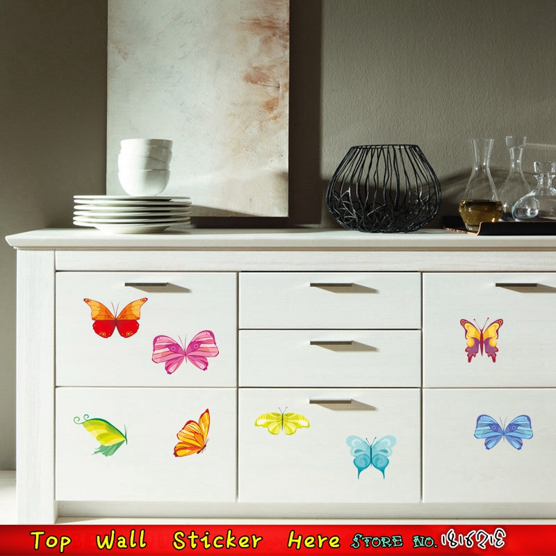 Colorful Butterfly Kitchen Cupboard Decorative Mural Art Diy Home Decals Wall Sticker Party Decoration Supplies Wallpaper Paste