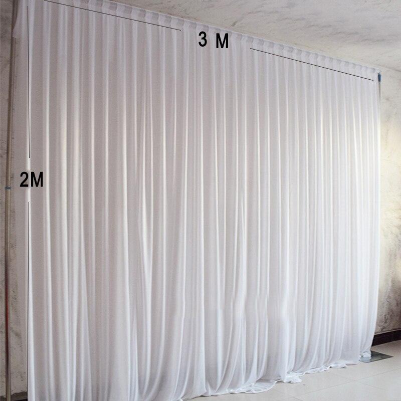 3X2 M Simple blanc glace soie fête rideau mariage événement décors pour la décoration de scène