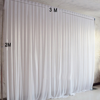 3X2M Simple white ice silk party curtain wedding event backdrops for stage decoration