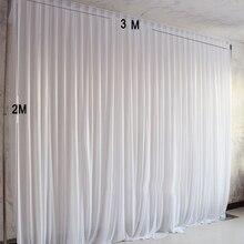 3X2M basit beyaz buz ipek parti perde düğün olay arka planında sahne dekorasyon için