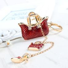 Два красных сумки высок-пятки новинка милый горный хрусталь кристалл автомобилей кошелек брелок ювелирные изделия отличный подарок