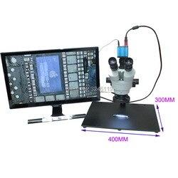 Ciągły Zoom lornetki wizualne 3.5X 90X Trinocular duża baza mikroskop stereo z 16MP 1080 P HDMI USB aparat telefon naprawy w Mikroskopy od Narzędzia na