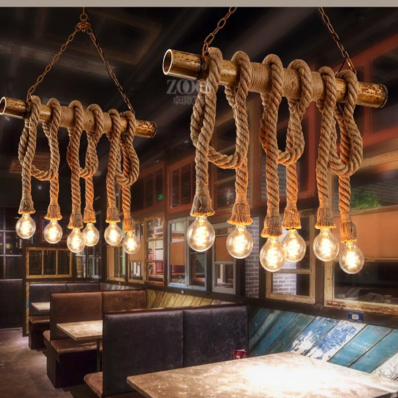 Wooden minimalist rope chandelier vintage Bar Cafe chandelier creative personality loft lamp American Restaurant style the postmodern chandelier of the scandinavia minimalist american led lamp house creative personality chandelier fg297