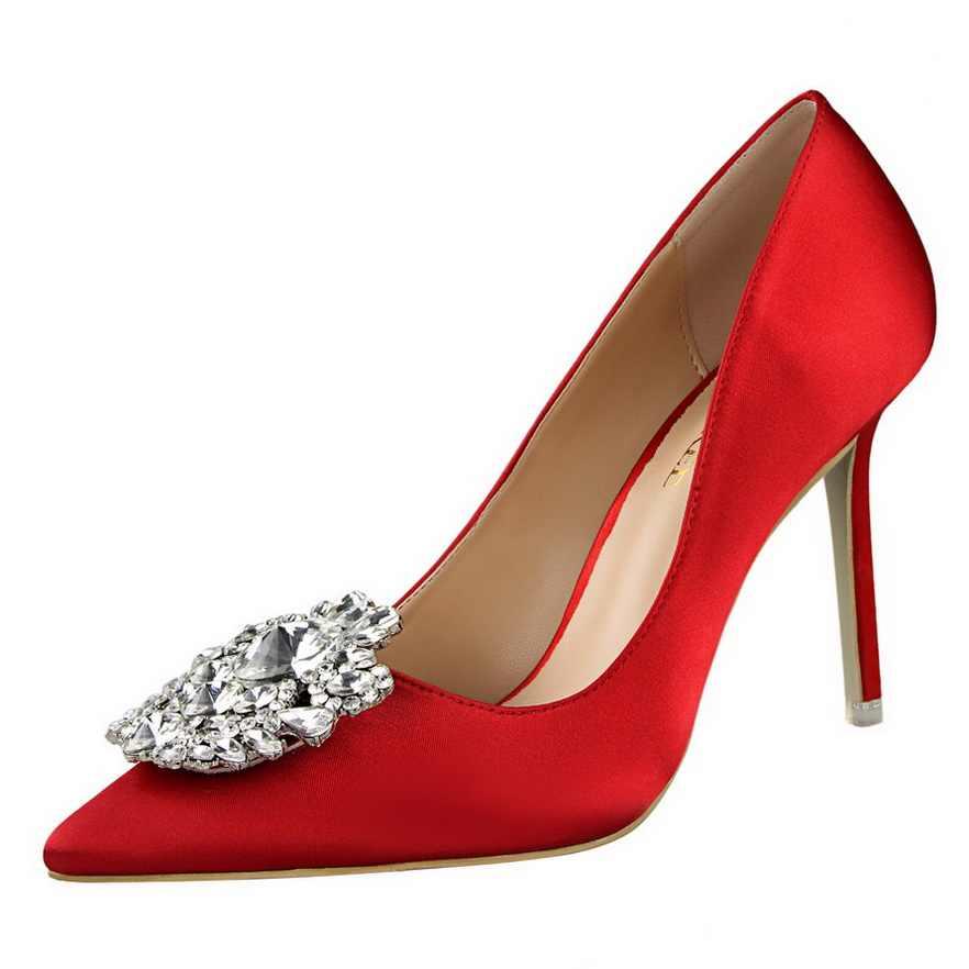 Bigtree Perak Hitam Abu-abu Wanita Pengantin Pernikahan Sepatu Faux Sutra Satin Berlian Imitasi Kristal Dangkal Wanita Pumps Stiletto Tumit Tinggi