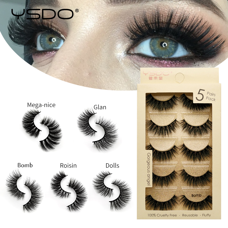 YSDO 5 pairs mink eyelashes natural false makeup 3d faux lashes long cilios fluffy 5P