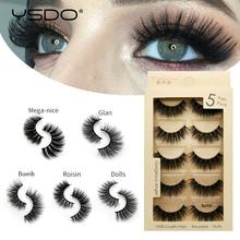 лучшая цена YSDO 5 pairs mink eyelashes natural false eyelashes makeup 3d faux mink lashes long eyelashes faux cilios mink fluffy lashes 5P