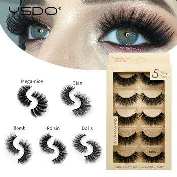 YSDO 5 pairs mink eyelashes natural false eyelashes makeup 3d faux mink lashes long eyelashes faux cilios mink fluffy lashes 5P