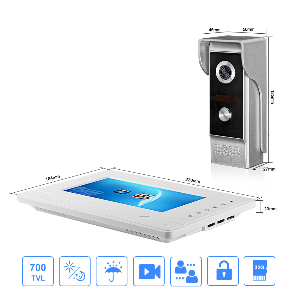 7 ''kleur Screen Video Intercom Systeem Deurtelefoon Deurtelefoon 1 2 Monitoren + Waterdichte Outdoor IR Camera + 16G Sd kaart Opname - 2