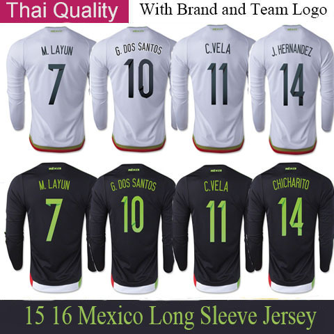 3bd17a0d896 2015 Mexico Long Sleeve Jerseys G.DOS SANTOS 15 16 Mexico Long Jersey  CHICHARITO Long Sleeve Football Jerseys M.LAYUN Camisetas