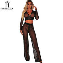 b6c6bf1300ff8 HAMBELELA Sexy Mesh Bodysuit Women Transparent long Sleeve Hooded Fishnet  Playsuit 2018 Sexy Rompers Womens Jumpsuit