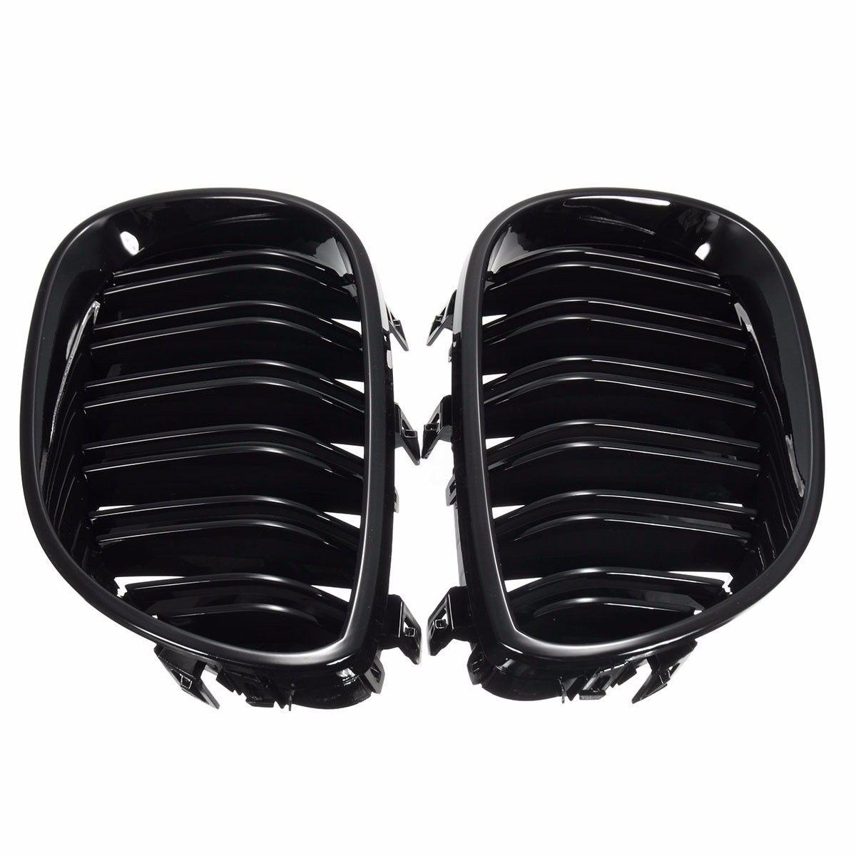 Grille de rein avant noir brillant pour BMW Grille Double ligne pour BMW E60 E61 série 5 2003-2010