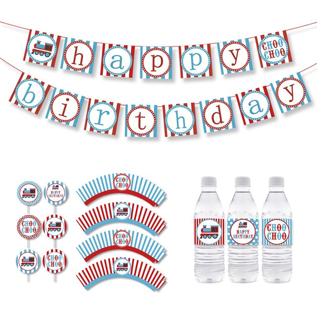 Train Birthday Party Cupcake Topper Vintage Choo Decorations Kids Banner Supplies