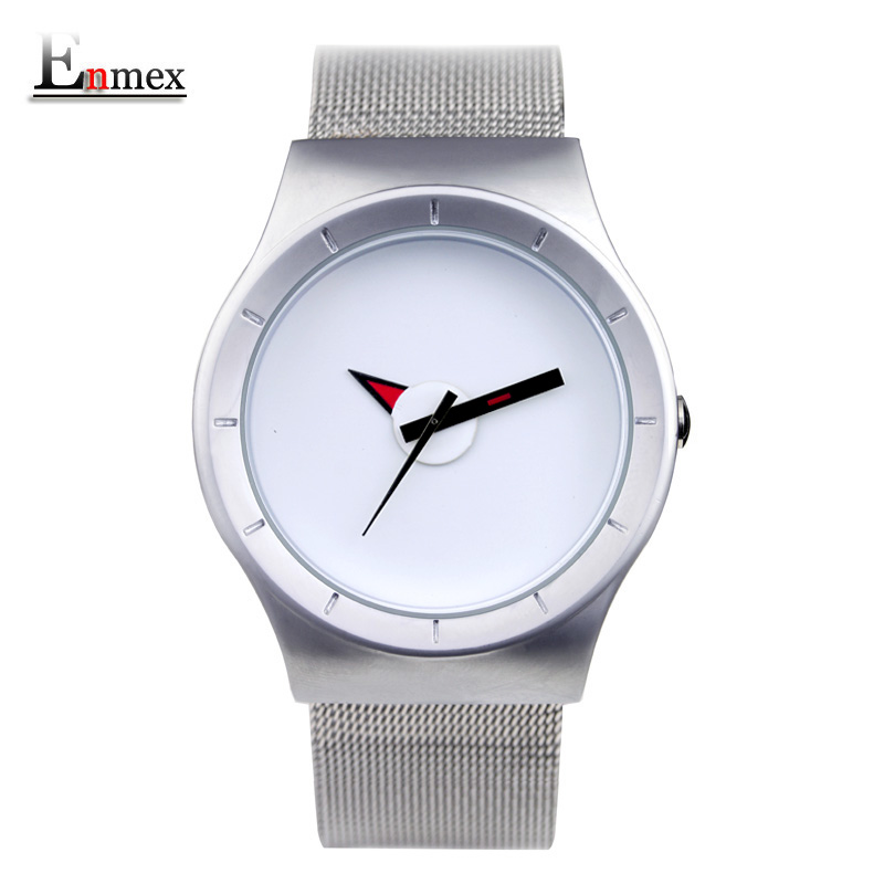 2017 gift Enmex creative simple design brief face with a red pointer steel band water prof young and fashion quartz watch 2016 men gift enmex brief design creative upside down hand unique design for young fashion unique quartz watches