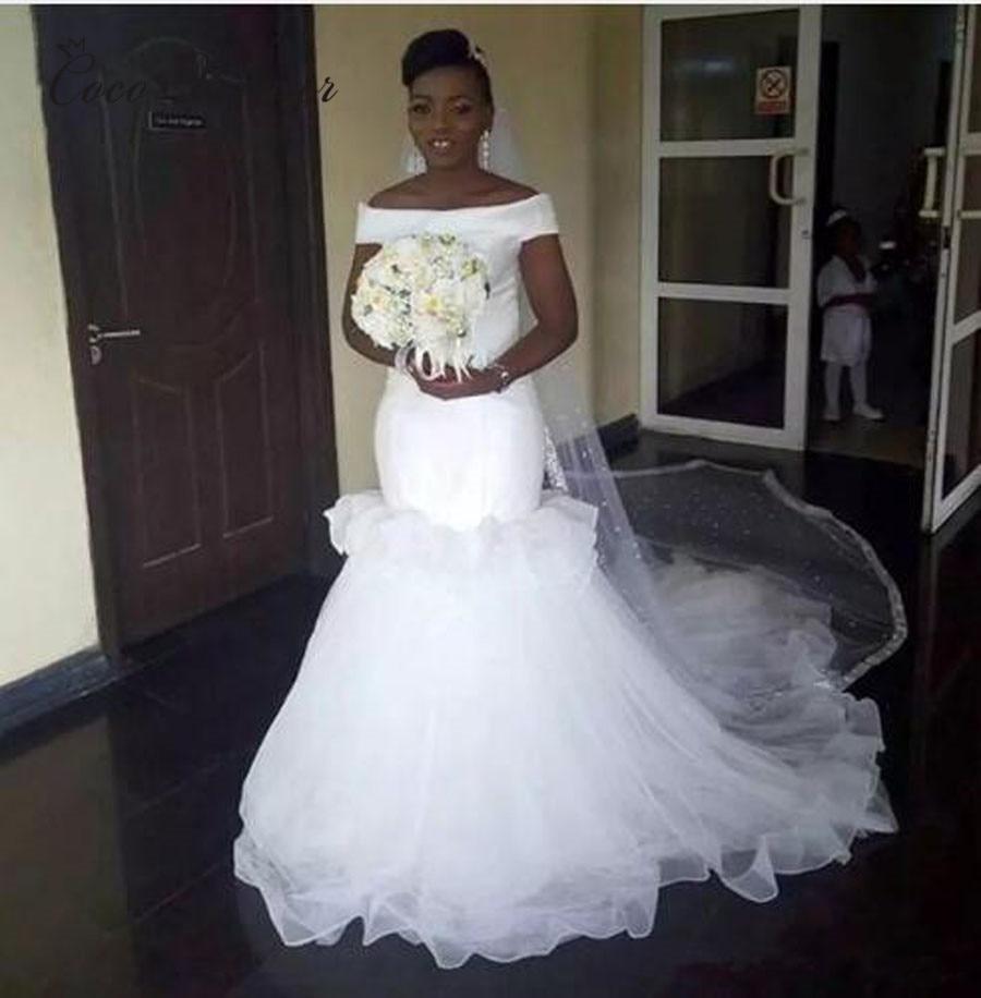 Simple Design Africa Elegant Satin Mermaid Wedding Dresses
