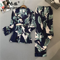 2018 New spring Women's printing pajamas sets turn down collar nightwear Long sleeved trousers High quality home wear sleepwear