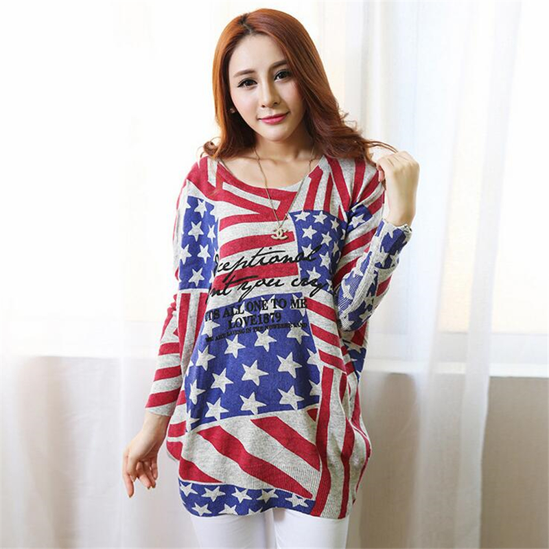 Winter spring designer womens sweaters European and American fashion women loose Flag Printed big yards wool brand sweater
