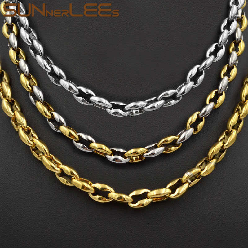 SUNNERLEES Fashion Jewelry 8mm Mens Womens Coffee Beans Link Chain Stainless Steel Necklace SC45 N