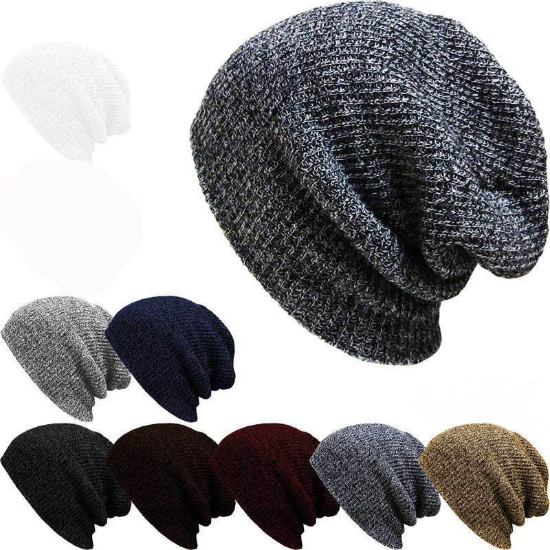 2017 Hot Sale Brand Beanies Knitted Winter Hat  For Men and Women Beanie Fur Warm Baggy Wool Black Brown Blue Knitted Hats rwby letter hot sale wool beanie female winter hat men
