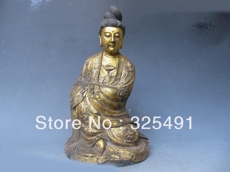 14Tibet Fane classical Old Bronze Gild Sit freedom Bodhisattva Guan Yin Statue z14Tibet Fane classical Old Bronze Gild Sit freedom Bodhisattva Guan Yin Statue z
