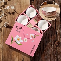 Boutique blue and white porcelain set wholesale direct gift bamboo chopsticks ceramic bowl cutlery gift box plant flower