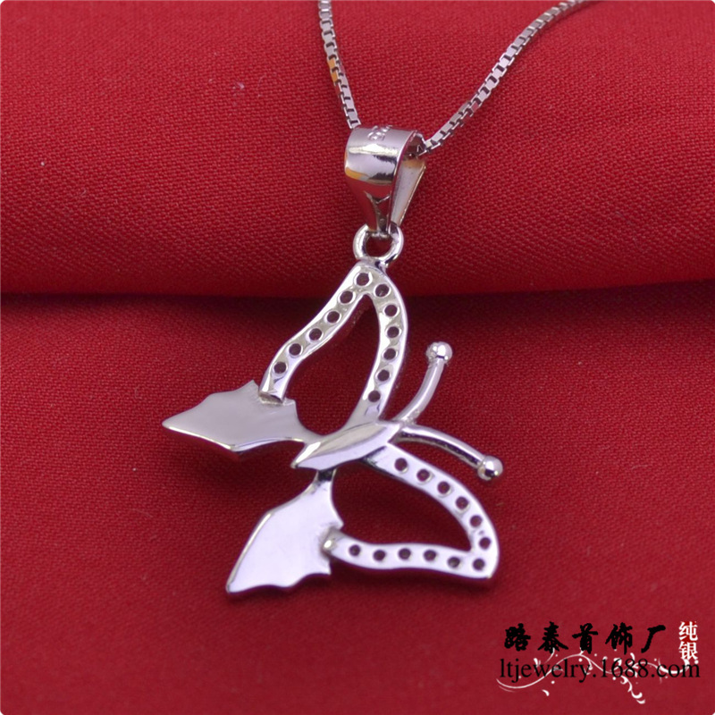New design Jewelry 925 silver butterfly pendant with chains women necklaces zircon