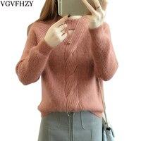 Women Pullovers Turtleneck Knit Shirt Long Sleeve Knitting Orange Sweater Thicken Warm Female Sweter 2018 Knitwear