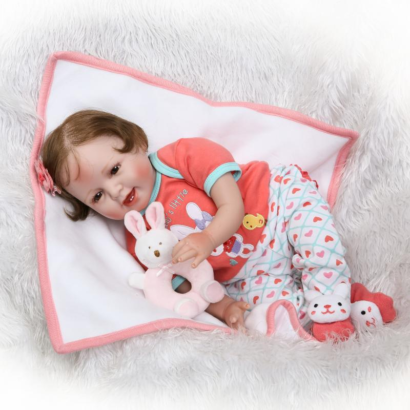 Pursue 22/55 cm Open Mouth with Teeth Silicone Reborn Baby Dolls Brown Eyes Hand Root Fiber Hair Orange Suit with Plush Toy the teeth with root canal students to practice root canal preparation and filling actually