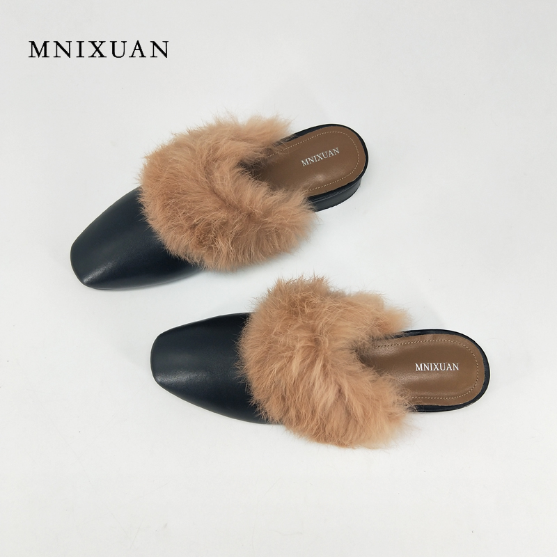 MNIXUAN Handmade mules shoes 2017 new spring high quality real leather women covered toe low heels with fur block heel slippers mnixuan women shoes slippers 2018 spring