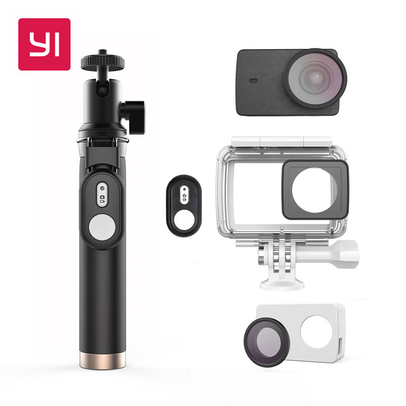 YI Action Camera Waterproof Case With Selfie stick & Bluetooth Remote & Protective Lens & Leather case Underwater Sports