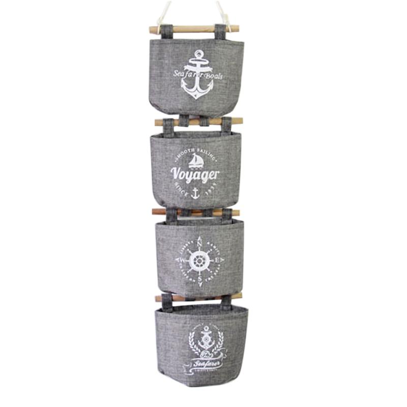 Perfekt Hoomall Wandbehang Aufbewahrungsbeutel Organizer Navy Leinen Schrank Hängen  Aufbewahrungstasche 20x14 Cm 1 Satz (4 Stücke