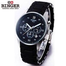 2017 new style men's trendy fashion casual brand Binger quartz watches big dial original logo watch black silver wristwatch