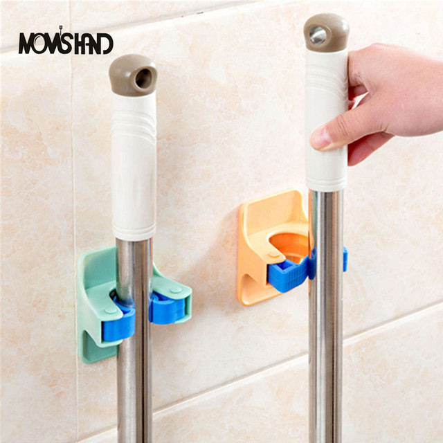 MOM'S HAND 2pcs/lot Home Clip Mop Hooks No Trace Mop Holder Bathroom Rack 1